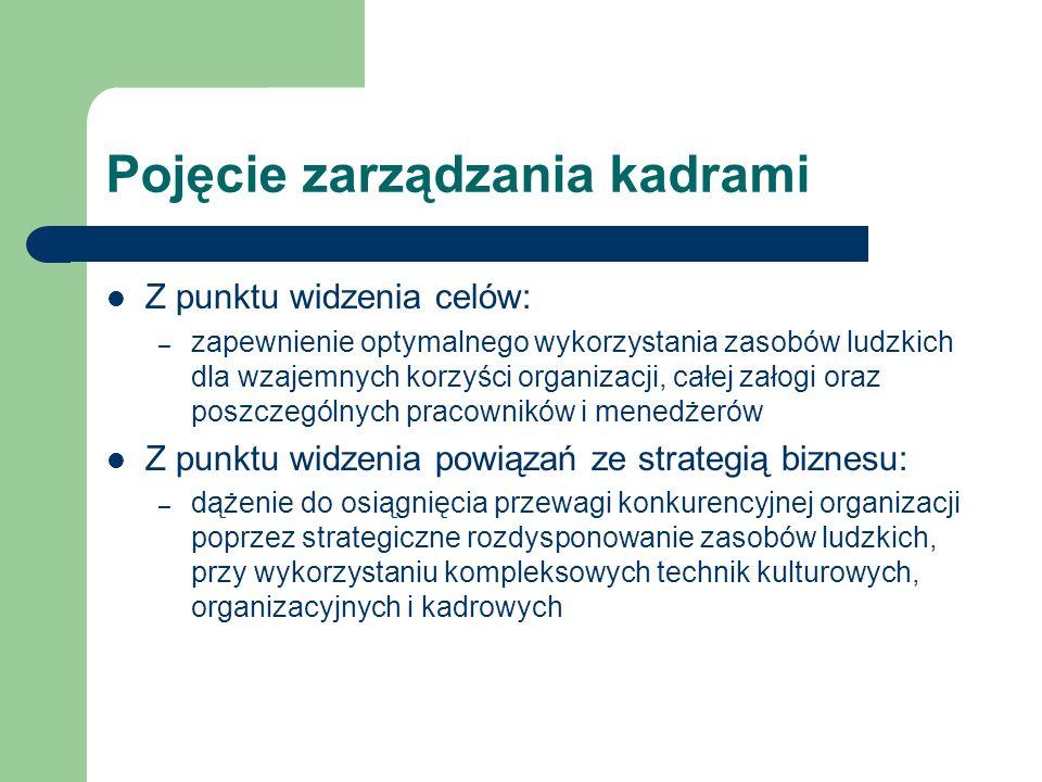 Pojęcie zarządzania kadrami Z punktu widzenia celów: – zapewnienie optymalnego wykorzystania zasobów ludzkich dla wzajemnych korzyści organizacji, cał