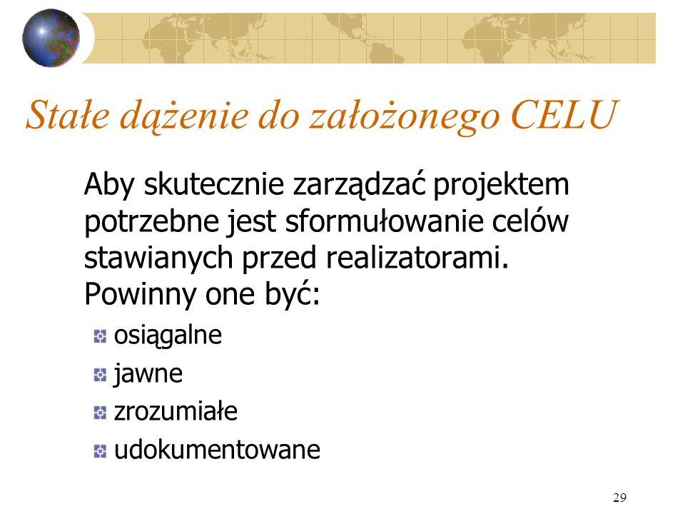 29 Stałe dążenie do założonego CELU Aby skutecznie zarządzać projektem potrzebne jest sformułowanie celów stawianych przed realizatorami. Powinny one
