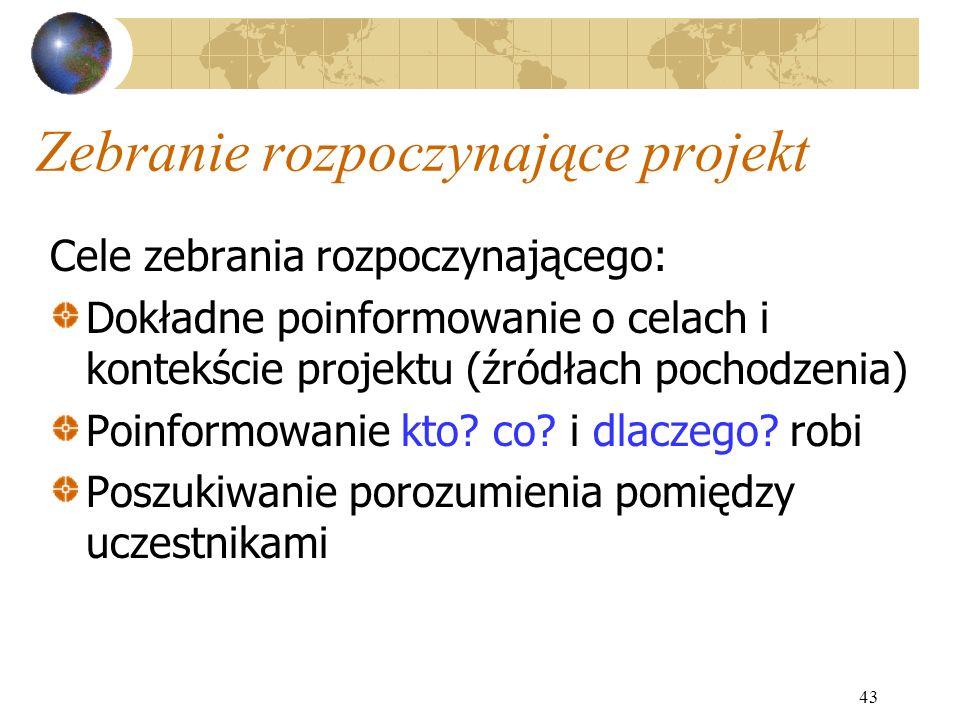 43 Zebranie rozpoczynające projekt Cele zebrania rozpoczynającego: Dokładne poinformowanie o celach i kontekście projektu (źródłach pochodzenia) Poinf