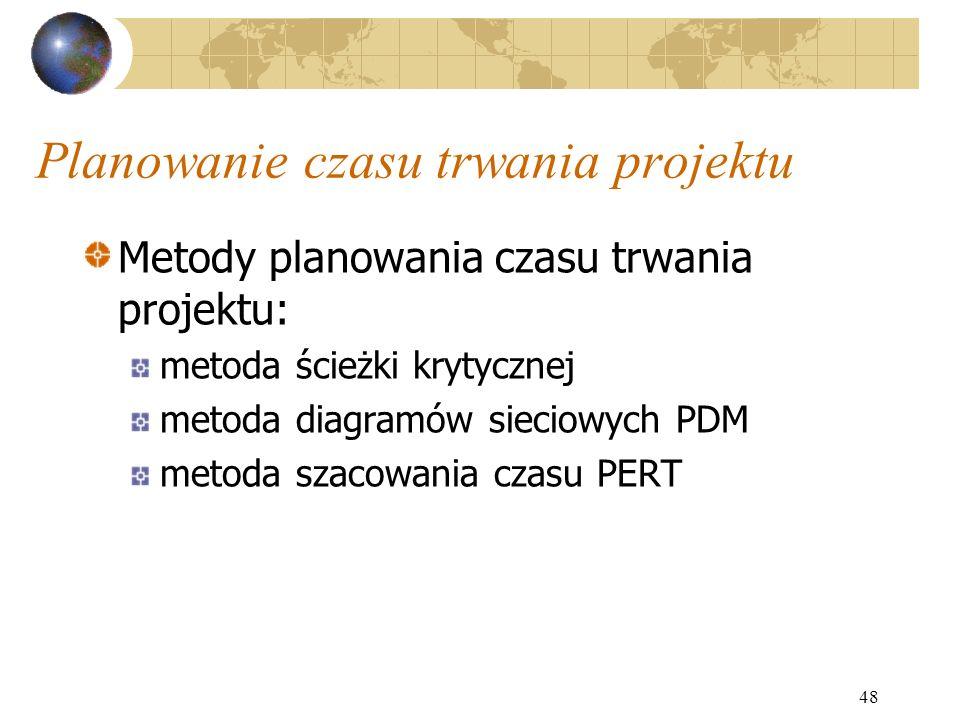 48 Planowanie czasu trwania projektu Metody planowania czasu trwania projektu: metoda ścieżki krytycznej metoda diagramów sieciowych PDM metoda szacow