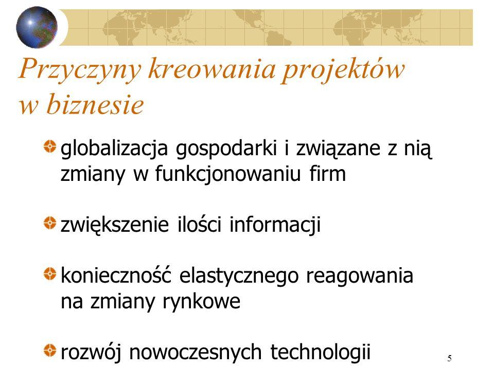 5 Przyczyny kreowania projektów w biznesie globalizacja gospodarki i związane z nią zmiany w funkcjonowaniu firm zwiększenie ilości informacji koniecz