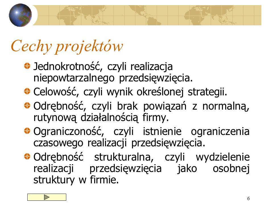 6 Cechy projektów Jednokrotność, czyli realizacja niepowtarzalnego przedsięwzięcia. Celowość, czyli wynik określonej strategii. Odrębność, czyli brak