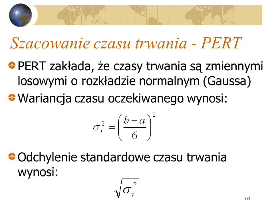 64 Szacowanie czasu trwania - PERT PERT zakłada, że czasy trwania są zmiennymi losowymi o rozkładzie normalnym (Gaussa) Wariancja czasu oczekiwanego w