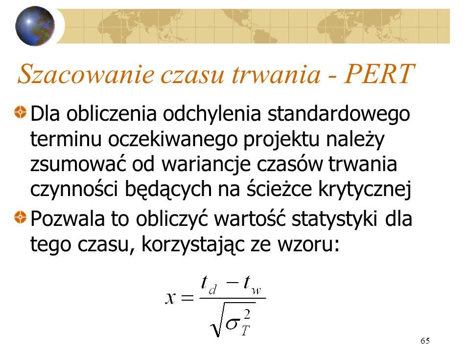 65 Szacowanie czasu trwania - PERT Dla obliczenia odchylenia standardowego terminu oczekiwanego projektu należy zsumować od wariancje czasów trwania c