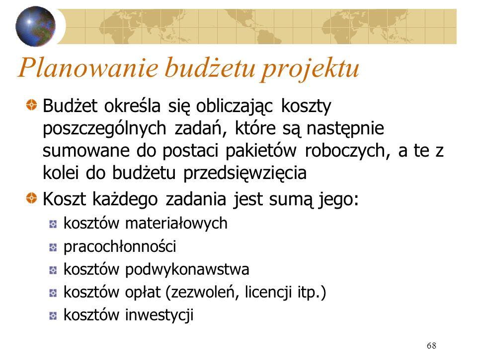 68 Planowanie budżetu projektu Budżet określa się obliczając koszty poszczególnych zadań, które są następnie sumowane do postaci pakietów roboczych, a
