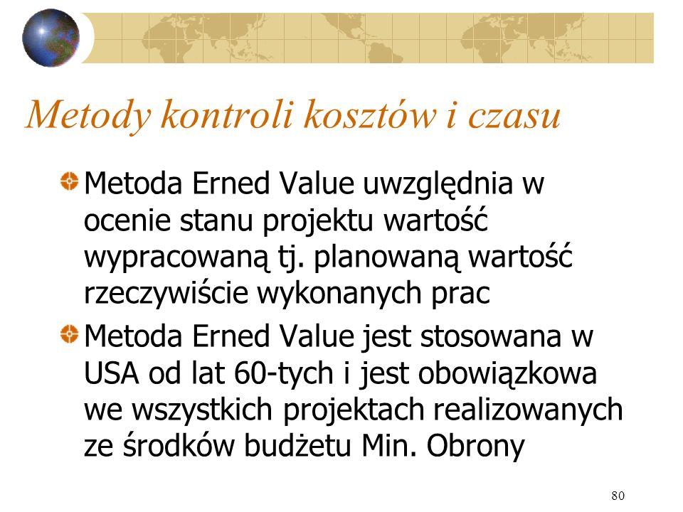 80 Metody kontroli kosztów i czasu Metoda Erned Value uwzględnia w ocenie stanu projektu wartość wypracowaną tj. planowaną wartość rzeczywiście wykona