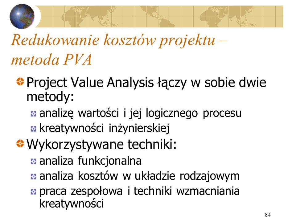 84 Redukowanie kosztów projektu – metoda PVA Project Value Analysis łączy w sobie dwie metody: analizę wartości i jej logicznego procesu kreatywności