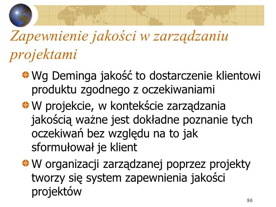 86 Zapewnienie jakości w zarządzaniu projektami Wg Deminga jakość to dostarczenie klientowi produktu zgodnego z oczekiwaniami W projekcie, w kontekści
