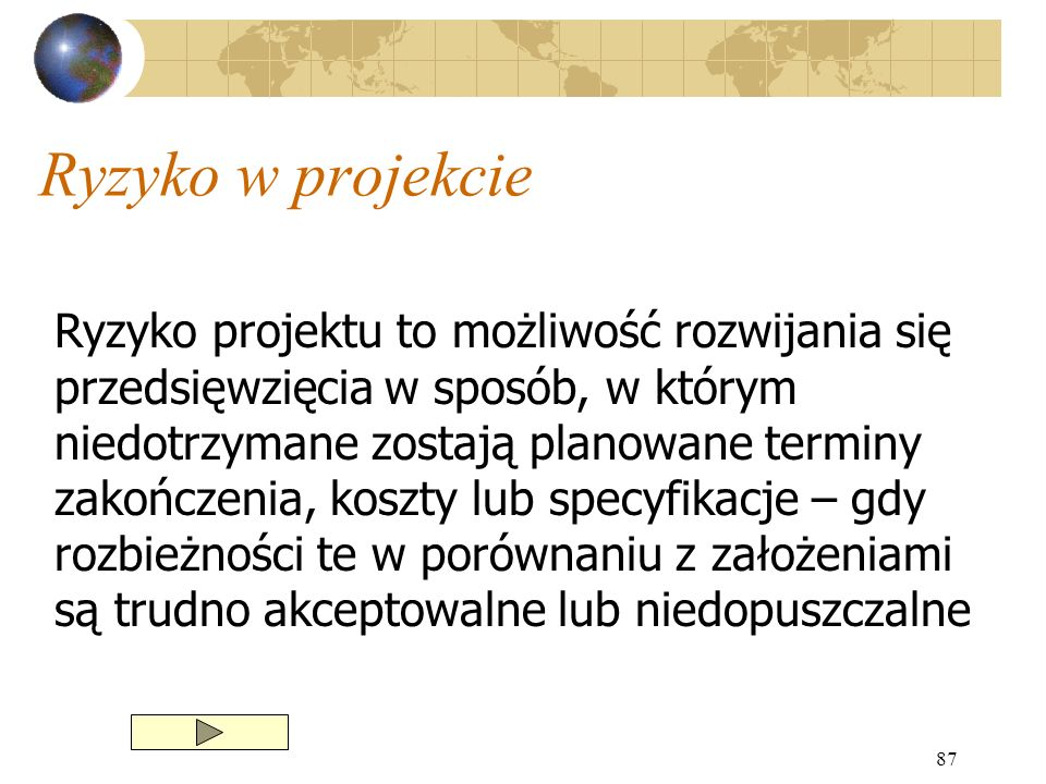 87 Ryzyko w projekcie Ryzyko projektu to możliwość rozwijania się przedsięwzięcia w sposób, w którym niedotrzymane zostają planowane terminy zakończen