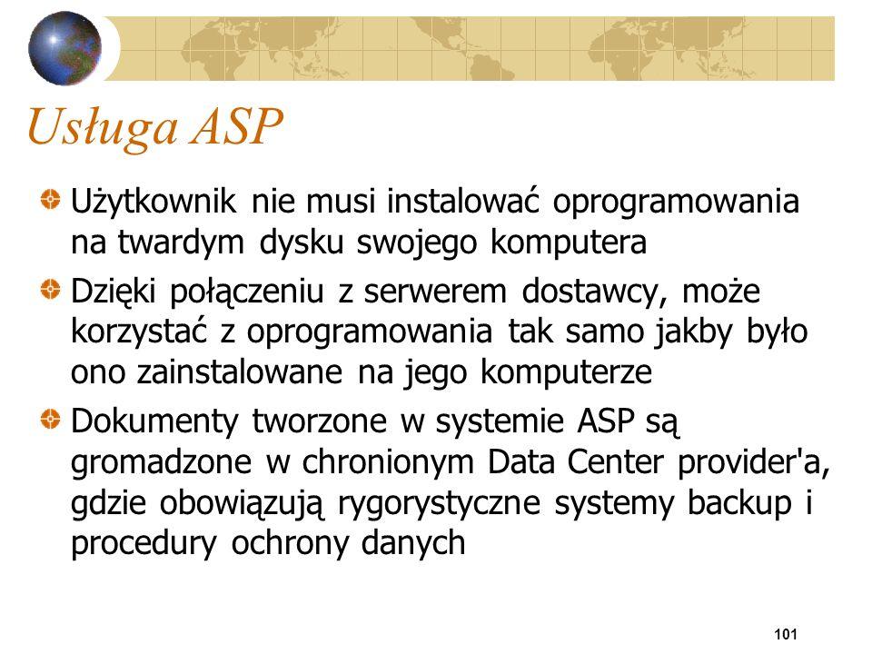 101 Usługa ASP Użytkownik nie musi instalować oprogramowania na twardym dysku swojego komputera Dzięki połączeniu z serwerem dostawcy, może korzystać