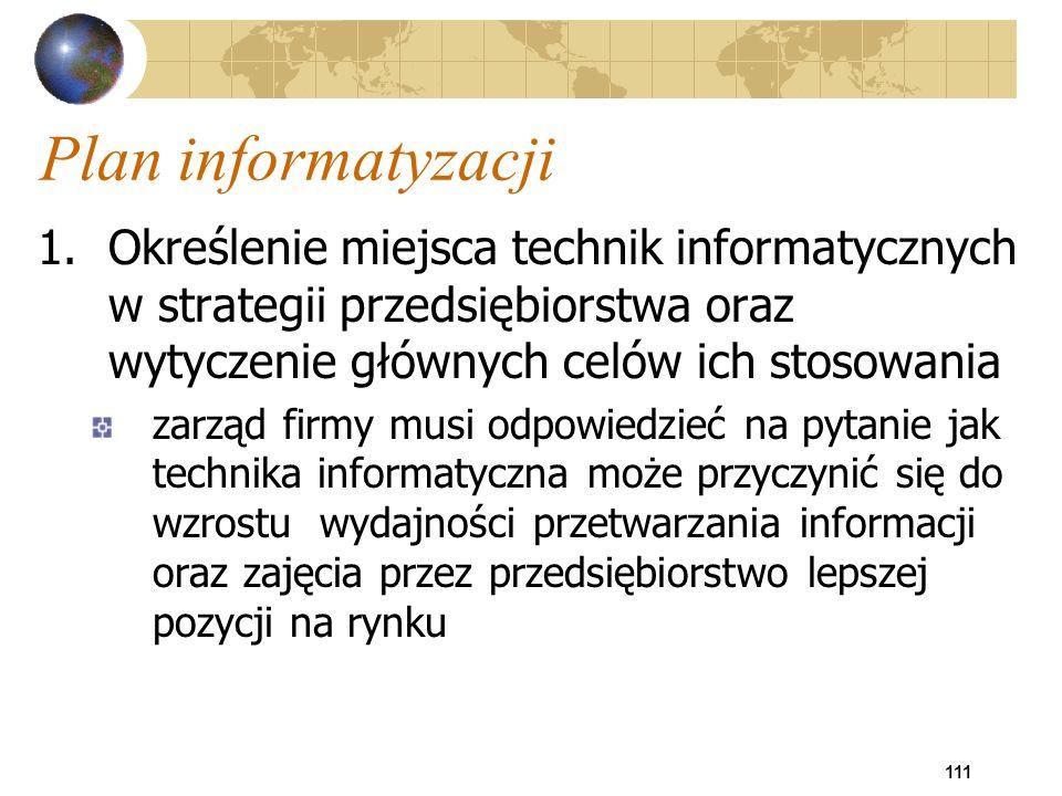 111 Plan informatyzacji 1.Określenie miejsca technik informatycznych w strategii przedsiębiorstwa oraz wytyczenie głównych celów ich stosowania zarząd