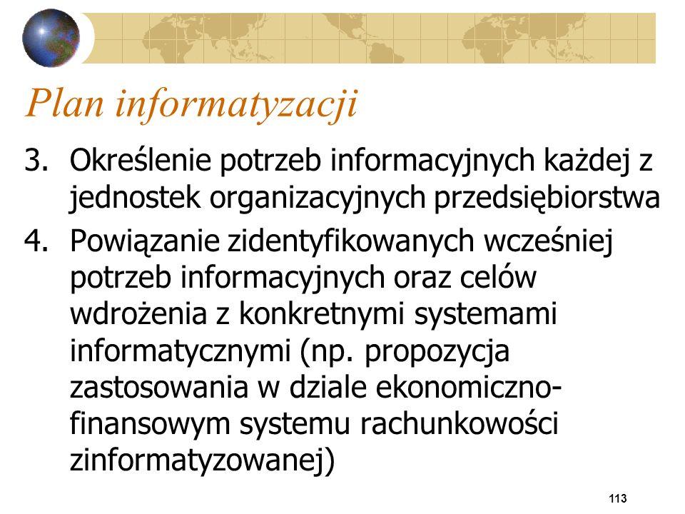 113 Plan informatyzacji 3.Określenie potrzeb informacyjnych każdej z jednostek organizacyjnych przedsiębiorstwa 4.Powiązanie zidentyfikowanych wcześni