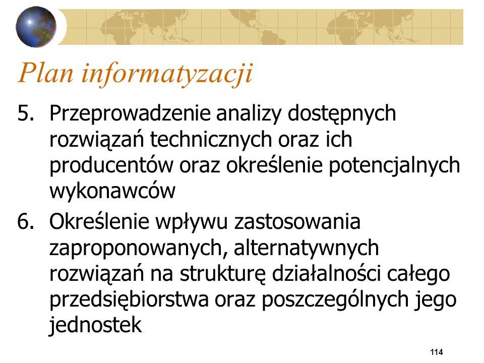 114 Plan informatyzacji 5.Przeprowadzenie analizy dostępnych rozwiązań technicznych oraz ich producentów oraz określenie potencjalnych wykonawców 6.Ok