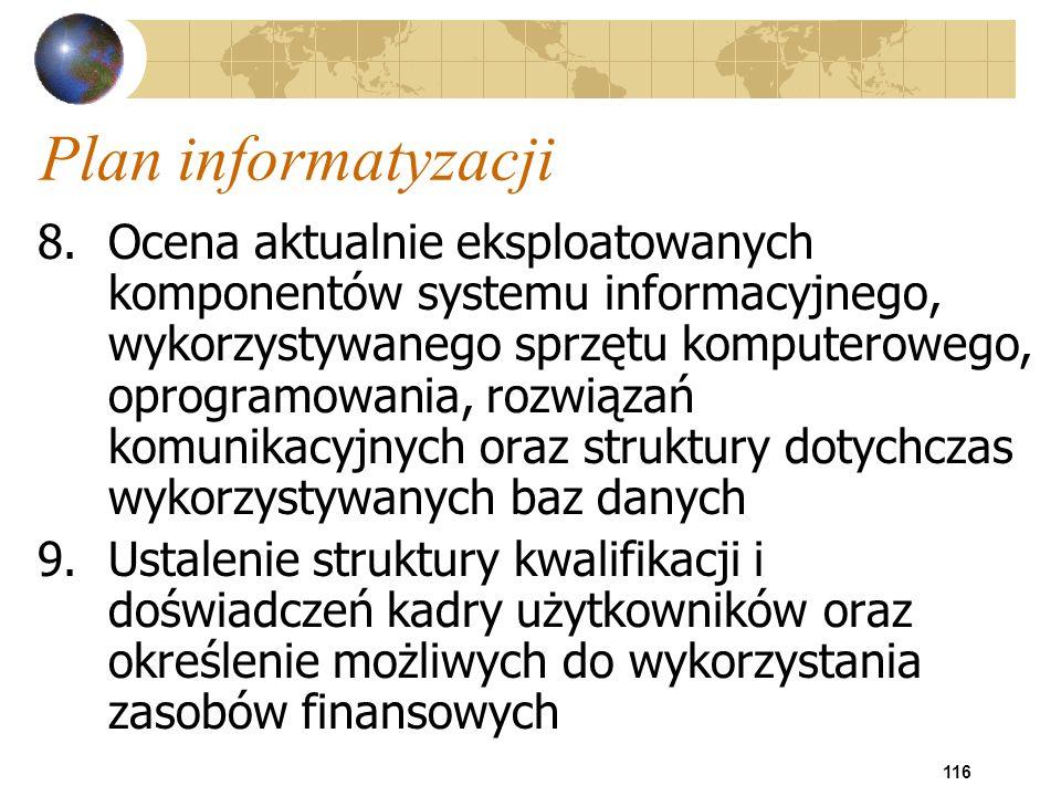 116 Plan informatyzacji 8.Ocena aktualnie eksploatowanych komponentów systemu informacyjnego, wykorzystywanego sprzętu komputerowego, oprogramowania,