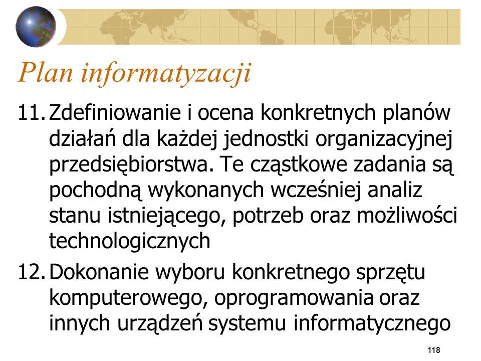 118 Plan informatyzacji 11.Zdefiniowanie i ocena konkretnych planów działań dla każdej jednostki organizacyjnej przedsiębiorstwa. Te cząstkowe zadania