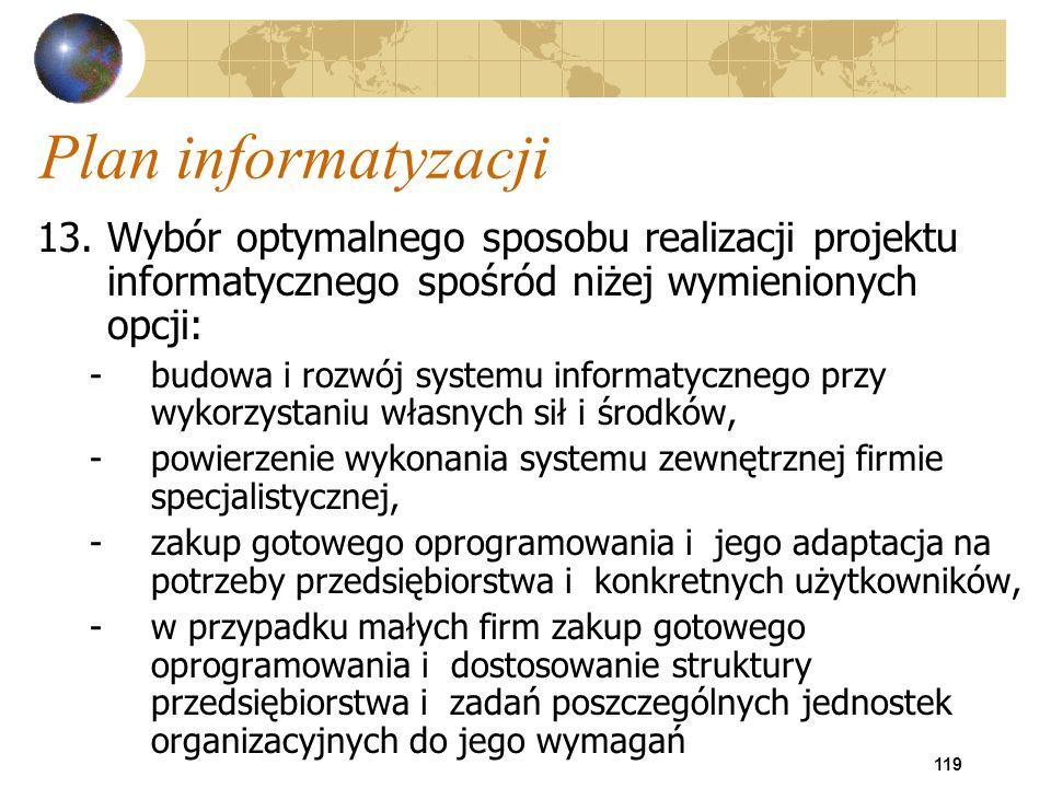 119 Plan informatyzacji 13.Wybór optymalnego sposobu realizacji projektu informatycznego spośród niżej wymienionych opcji: -budowa i rozwój systemu in