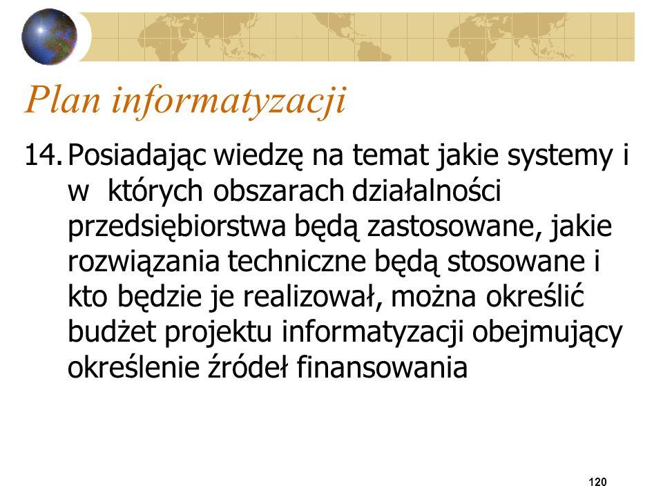 120 Plan informatyzacji 14.Posiadając wiedzę na temat jakie systemy i w których obszarach działalności przedsiębiorstwa będą zastosowane, jakie rozwią
