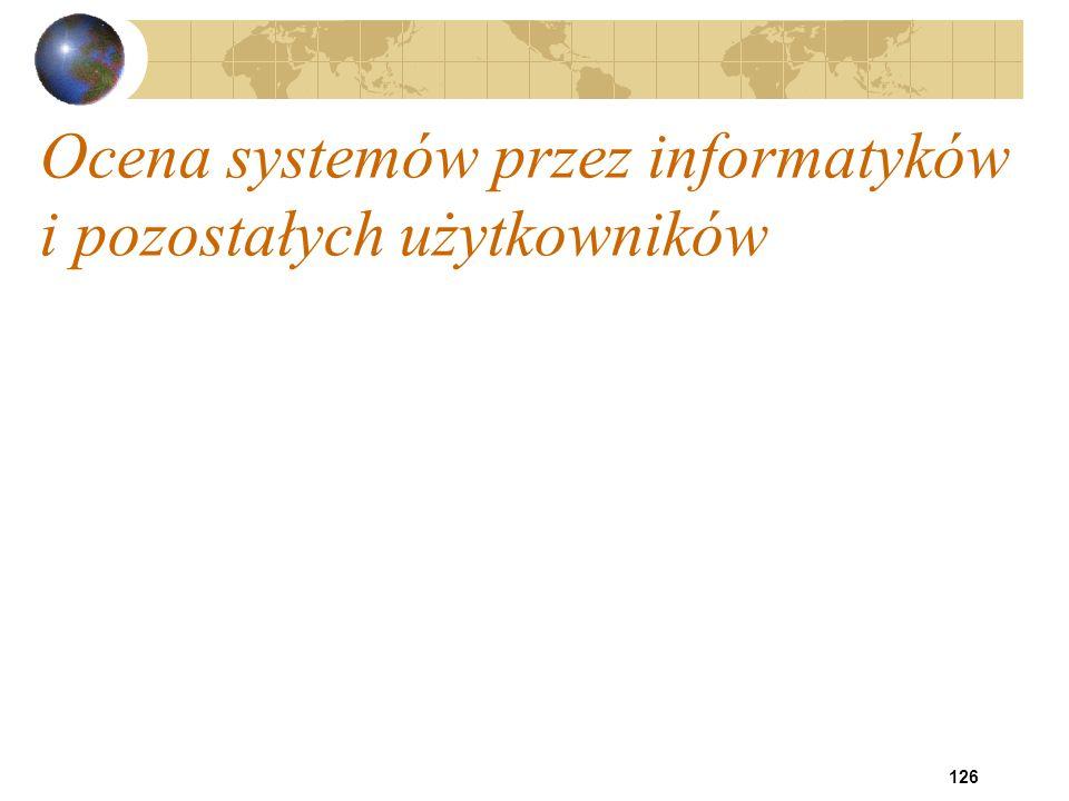 126 Ocena systemów przez informatyków i pozostałych użytkowników