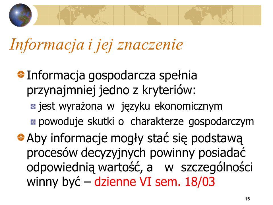 16 Informacja i jej znaczenie Informacja gospodarcza spełnia przynajmniej jedno z kryteriów: jest wyrażona w języku ekonomicznym powoduje skutki o cha