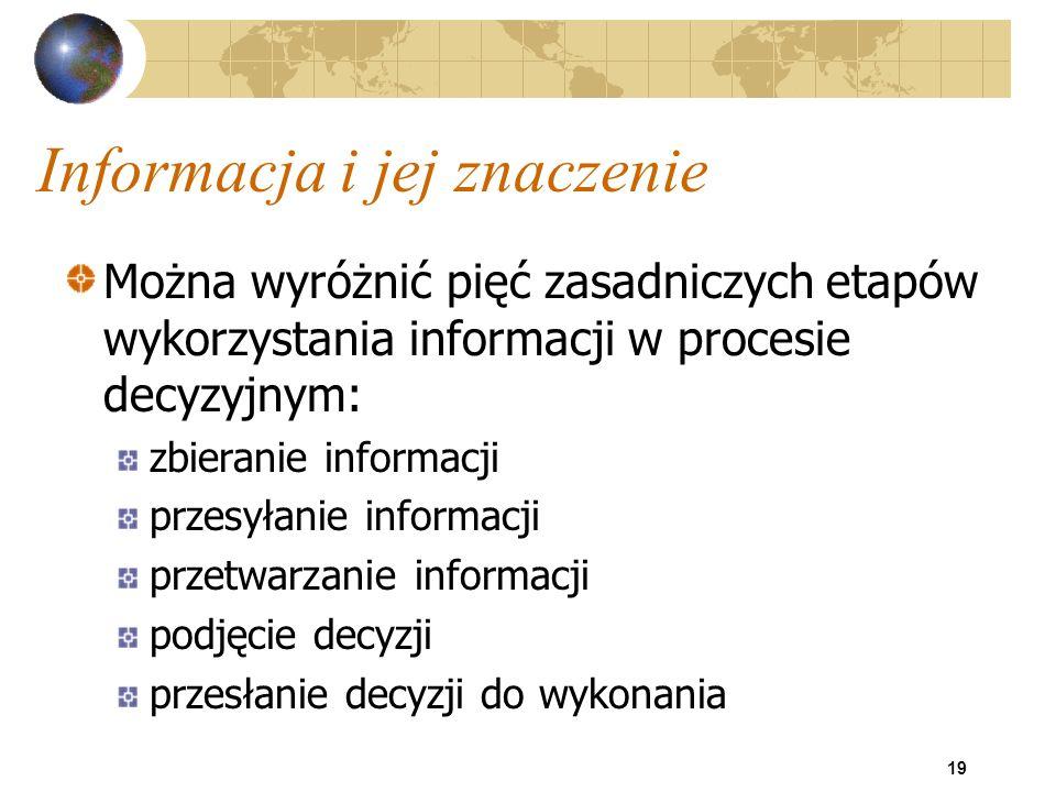 19 Informacja i jej znaczenie Można wyróżnić pięć zasadniczych etapów wykorzystania informacji w procesie decyzyjnym: zbieranie informacji przesyłanie