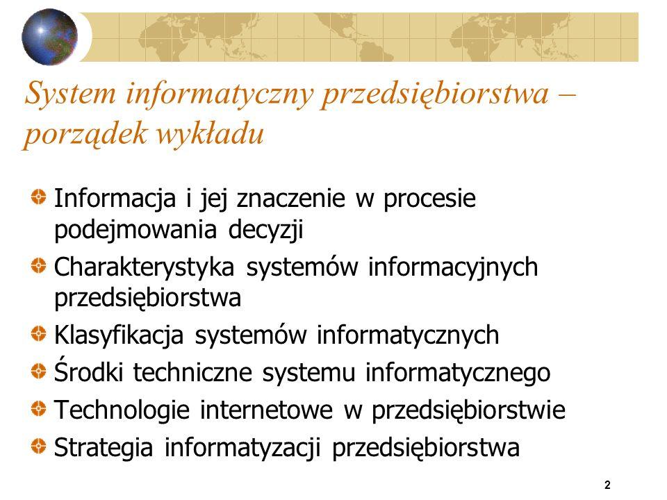 23 Systemy informacyjne Cele systemu informacyjnego zarządzania: zapewnienie dyrekcji przedsiębiorstwa informacji o znaczeniu strategicznym, niezbędnych do podejmowania decyzji dotyczących przyszłości organizacji wymianę informacji z systemami informacyjnymi dostawców, kooperantów i klientów