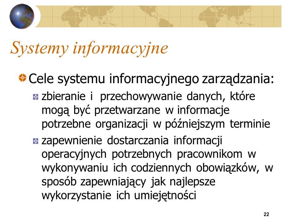 22 Systemy informacyjne Cele systemu informacyjnego zarządzania: zbieranie i przechowywanie danych, które mogą być przetwarzane w informacje potrzebne