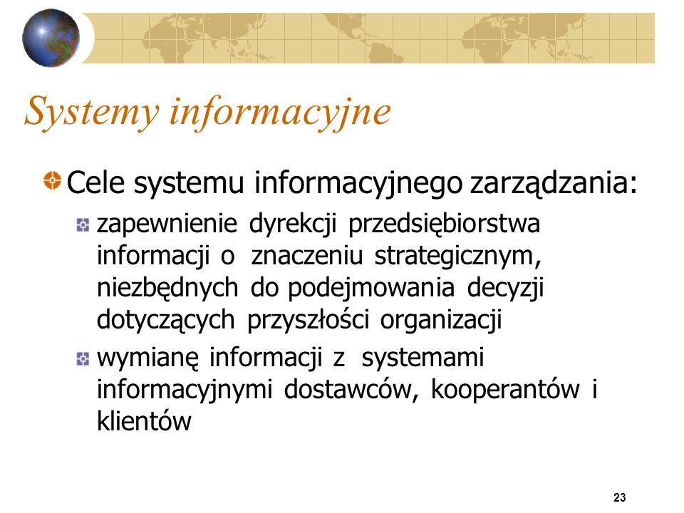 23 Systemy informacyjne Cele systemu informacyjnego zarządzania: zapewnienie dyrekcji przedsiębiorstwa informacji o znaczeniu strategicznym, niezbędny