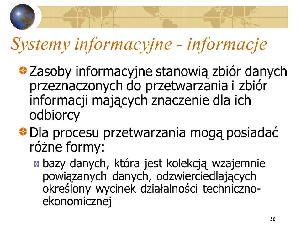 30 Systemy informacyjne - informacje Zasoby informacyjne stanowią zbiór danych przeznaczonych do przetwarzania i zbiór informacji mających znaczenie d
