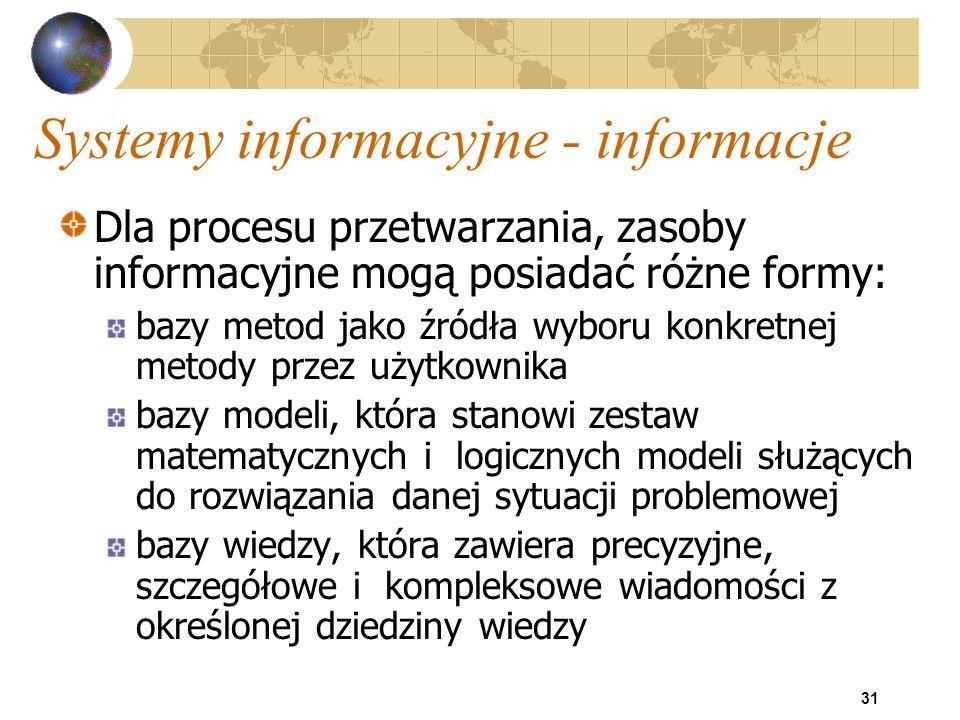 31 Systemy informacyjne - informacje Dla procesu przetwarzania, zasoby informacyjne mogą posiadać różne formy: bazy metod jako źródła wyboru konkretne