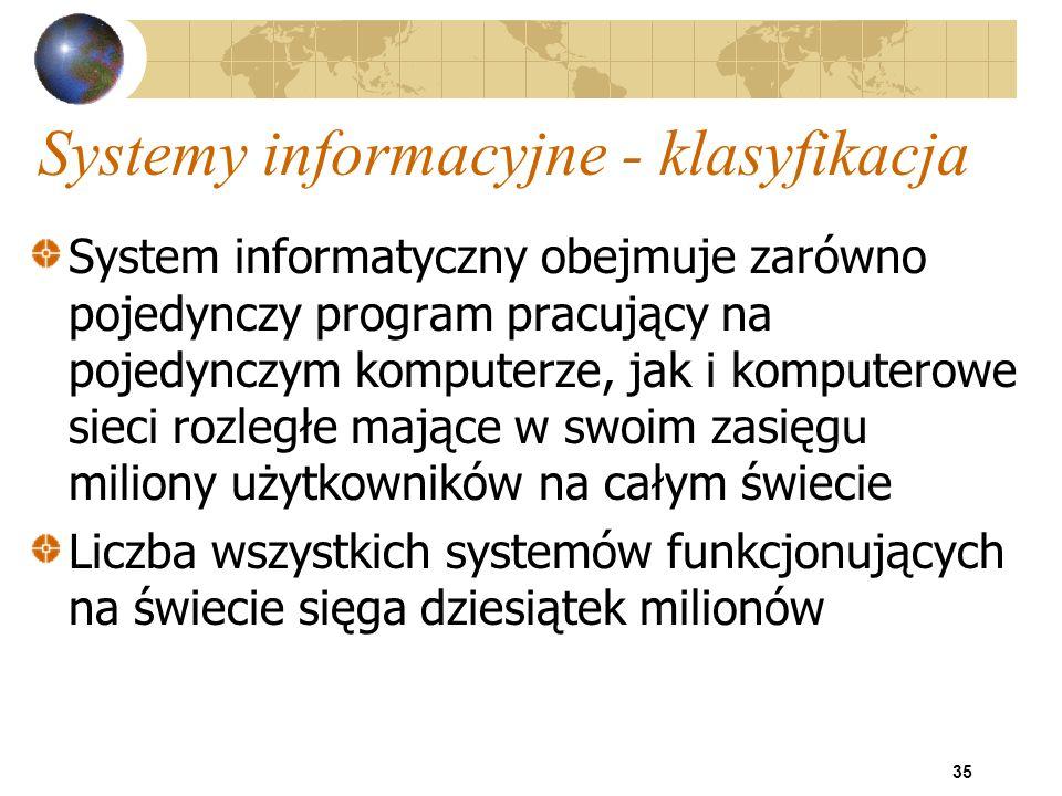 35 Systemy informacyjne - klasyfikacja System informatyczny obejmuje zarówno pojedynczy program pracujący na pojedynczym komputerze, jak i komputerowe