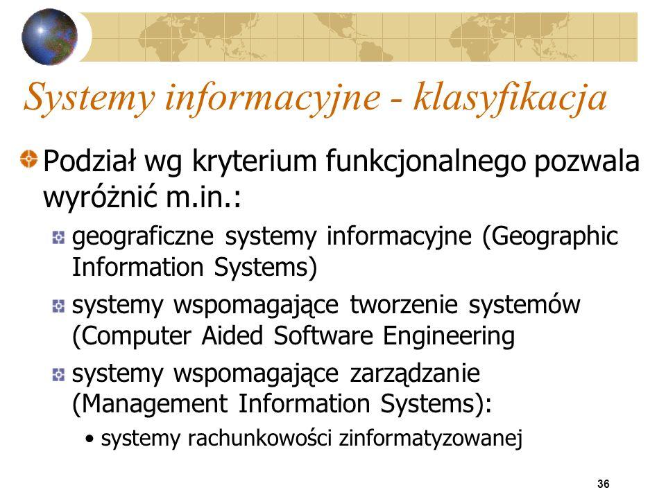 36 Systemy informacyjne - klasyfikacja Podział wg kryterium funkcjonalnego pozwala wyróżnić m.in.: geograficzne systemy informacyjne (Geographic Infor