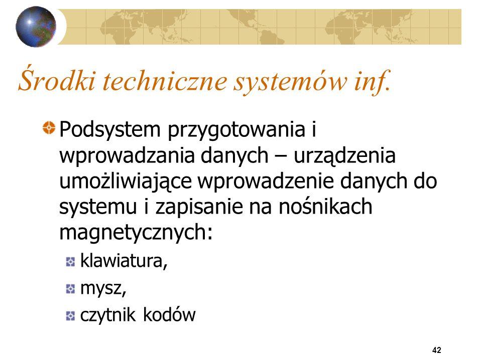 42 Środki techniczne systemów inf. Podsystem przygotowania i wprowadzania danych – urządzenia umożliwiające wprowadzenie danych do systemu i zapisanie