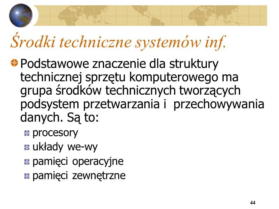 44 Środki techniczne systemów inf. Podstawowe znaczenie dla struktury technicznej sprzętu komputerowego ma grupa środków technicznych tworzących podsy