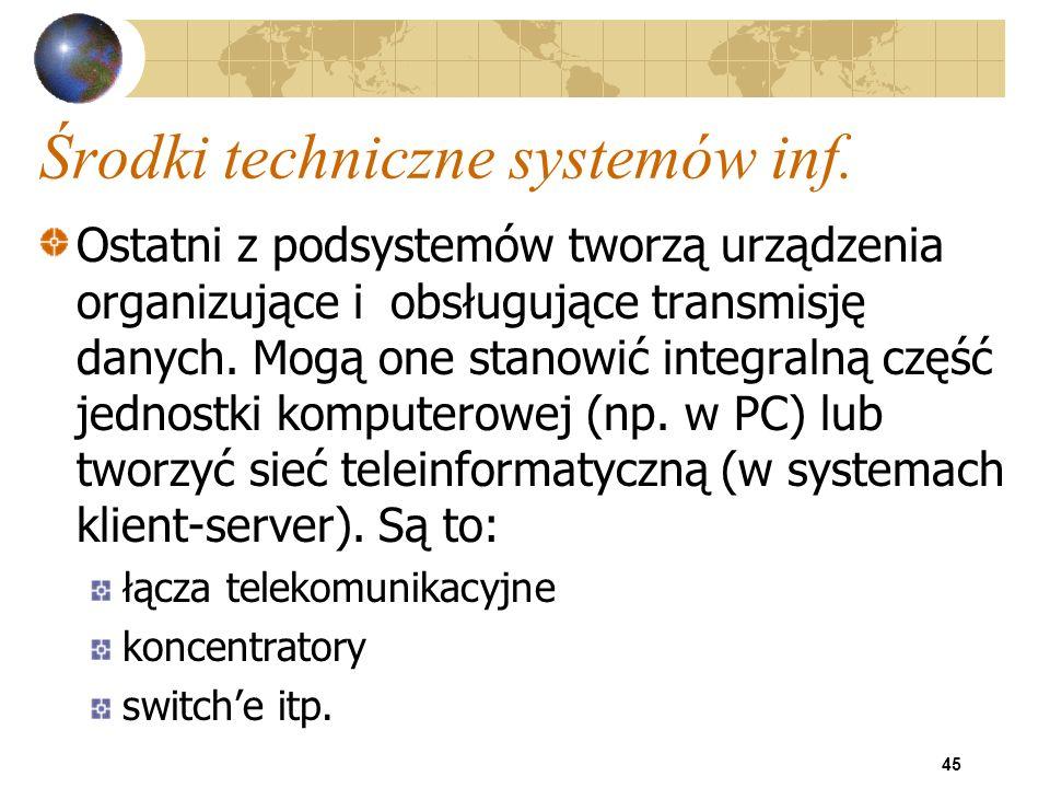 45 Środki techniczne systemów inf. Ostatni z podsystemów tworzą urządzenia organizujące i obsługujące transmisję danych. Mogą one stanowić integralną