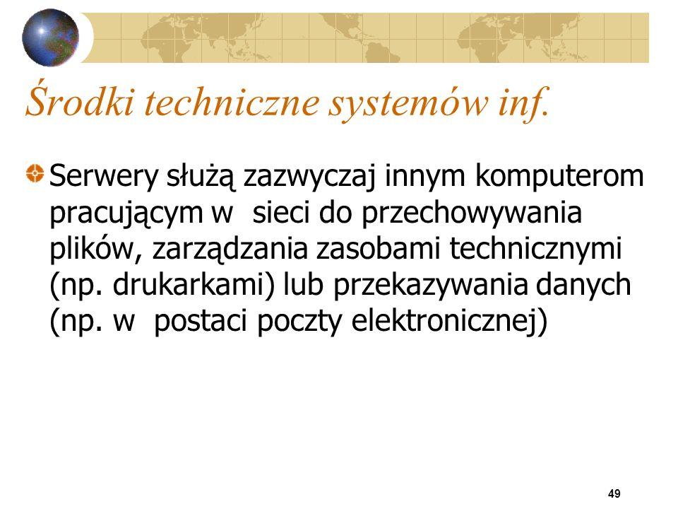 49 Środki techniczne systemów inf. Serwery służą zazwyczaj innym komputerom pracującym w sieci do przechowywania plików, zarządzania zasobami technicz