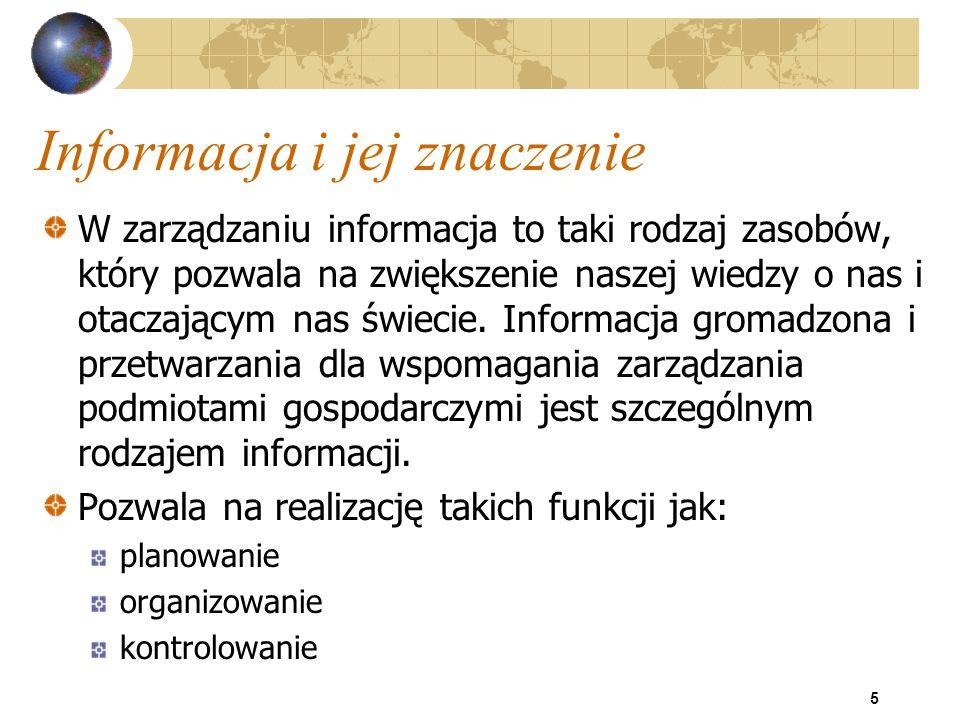 36 Systemy informacyjne - klasyfikacja Podział wg kryterium funkcjonalnego pozwala wyróżnić m.in.: geograficzne systemy informacyjne (Geographic Information Systems) systemy wspomagające tworzenie systemów (Computer Aided Software Engineering systemy wspomagające zarządzanie (Management Information Systems): systemy rachunkowości zinformatyzowanej