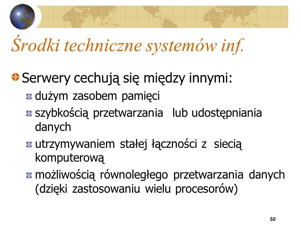 50 Środki techniczne systemów inf. Serwery cechują się między innymi: dużym zasobem pamięci szybkością przetwarzania lub udostępniania danych utrzymyw