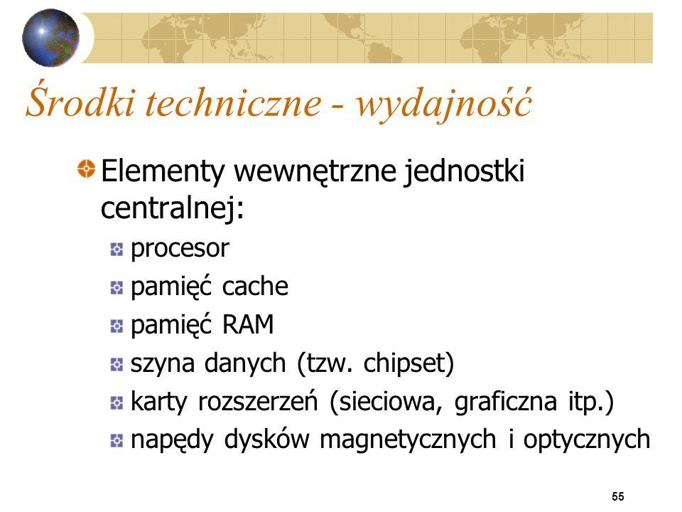 55 Środki techniczne - wydajność Elementy wewnętrzne jednostki centralnej: procesor pamięć cache pamięć RAM szyna danych (tzw. chipset) karty rozszerz