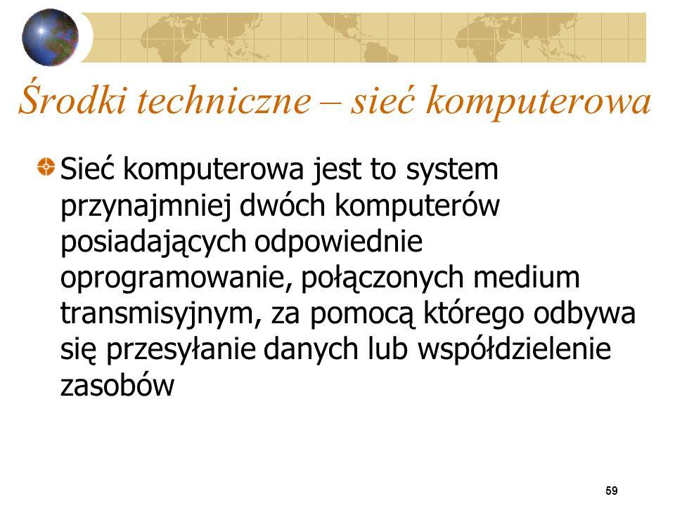 59 Środki techniczne – sieć komputerowa Sieć komputerowa jest to system przynajmniej dwóch komputerów posiadających odpowiednie oprogramowanie, połącz
