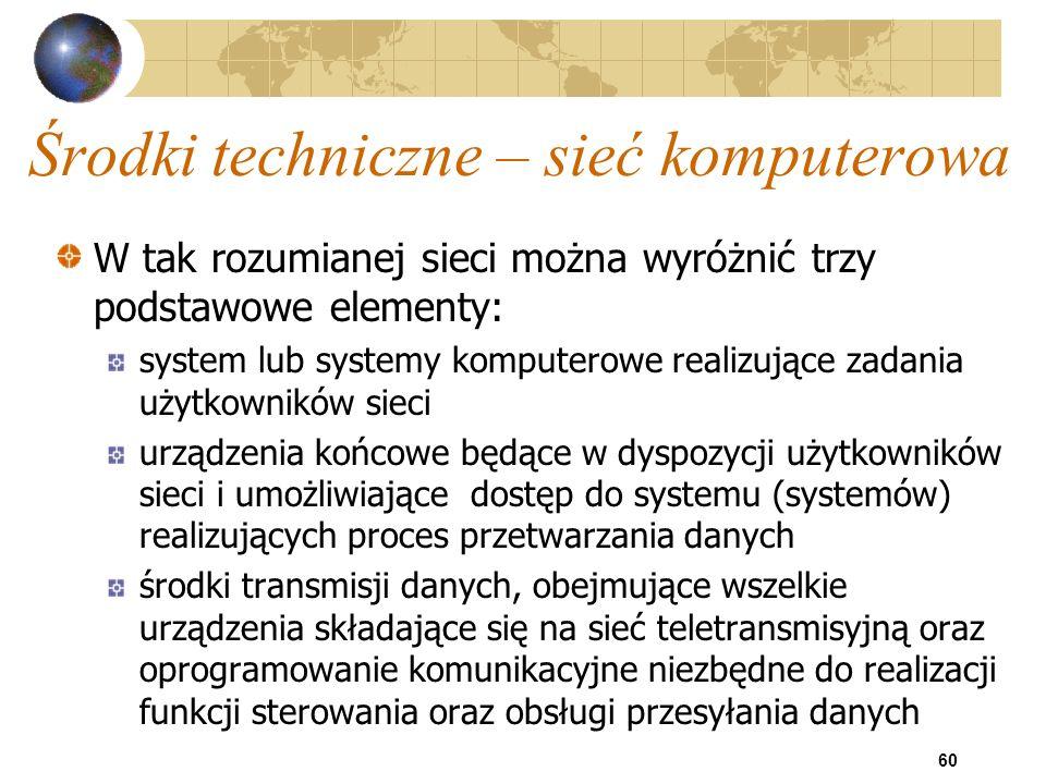 60 Środki techniczne – sieć komputerowa W tak rozumianej sieci można wyróżnić trzy podstawowe elementy: system lub systemy komputerowe realizujące zad
