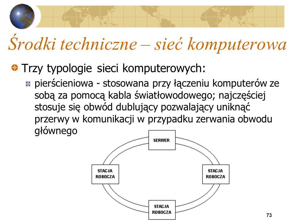 73 Środki techniczne – sieć komputerowa Trzy typologie sieci komputerowych: pierścieniowa - stosowana przy łączeniu komputerów ze sobą za pomocą kabla