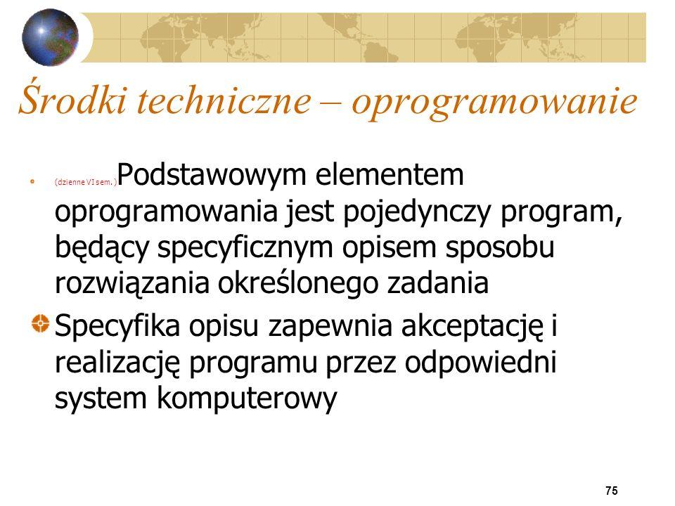 75 Środki techniczne – oprogramowanie (dzienne VI sem. ) Podstawowym elementem oprogramowania jest pojedynczy program, będący specyficznym opisem spos