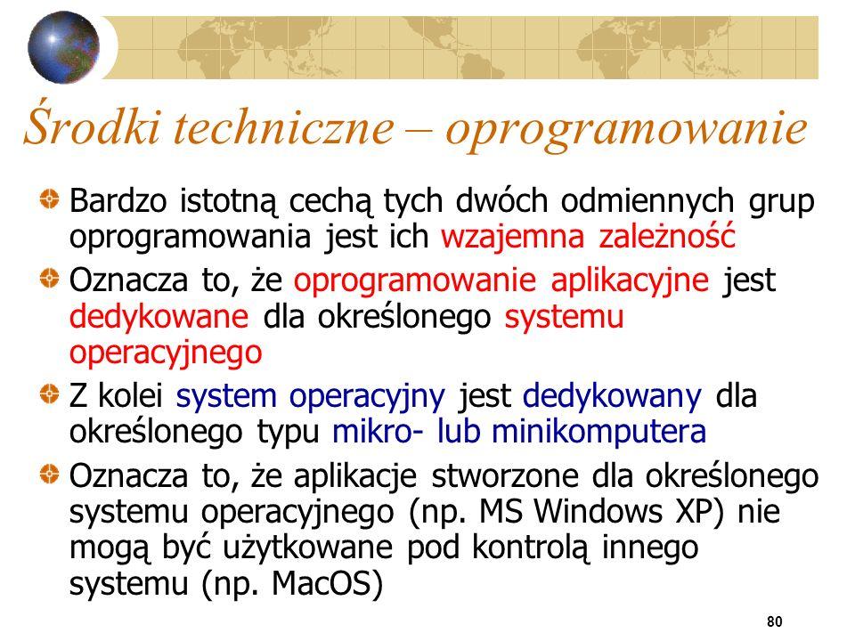 80 Środki techniczne – oprogramowanie Bardzo istotną cechą tych dwóch odmiennych grup oprogramowania jest ich wzajemna zależność Oznacza to, że oprogr