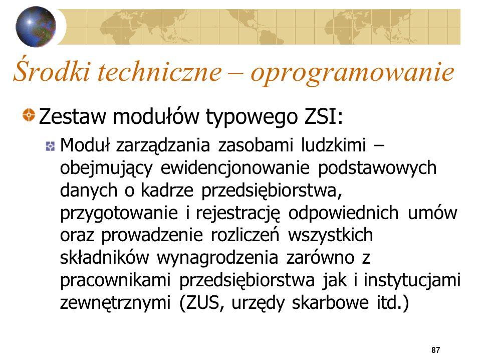 87 Środki techniczne – oprogramowanie Zestaw modułów typowego ZSI: Moduł zarządzania zasobami ludzkimi – obejmujący ewidencjonowanie podstawowych dany