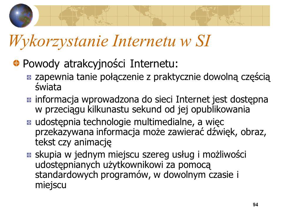 94 Wykorzystanie Internetu w SI Powody atrakcyjności Internetu: zapewnia tanie połączenie z praktycznie dowolną częścią świata informacja wprowadzona