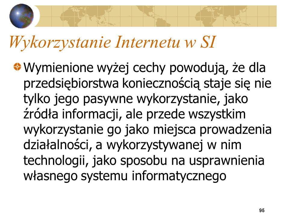 95 Wykorzystanie Internetu w SI Wymienione wyżej cechy powodują, że dla przedsiębiorstwa koniecznością staje się nie tylko jego pasywne wykorzystanie,