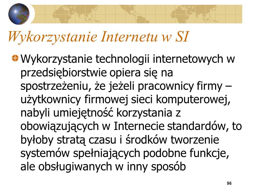 96 Wykorzystanie Internetu w SI Wykorzystanie technologii internetowych w przedsiębiorstwie opiera się na spostrzeżeniu, że jeżeli pracownicy firmy –