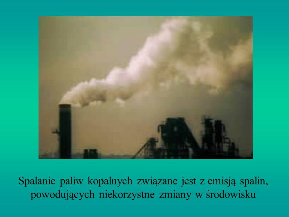 Spalanie paliw kopalnych związane jest z emisją spalin, powodujących niekorzystne zmiany w środowisku