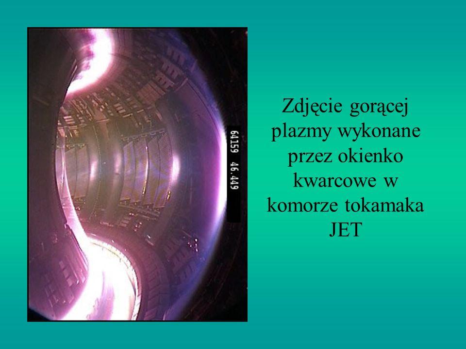 Zdjęcie gorącej plazmy wykonane przez okienko kwarcowe w komorze tokamaka JET