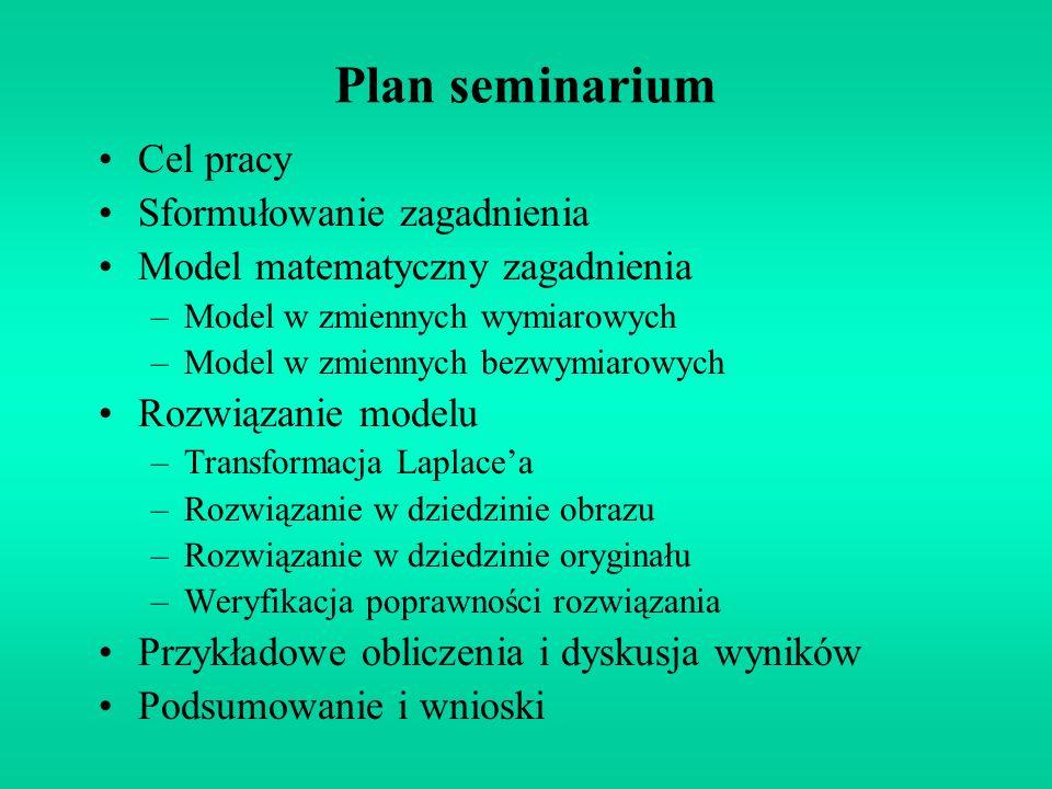 Plan seminarium Cel pracy Sformułowanie zagadnienia Model matematyczny zagadnienia –Model w zmiennych wymiarowych –Model w zmiennych bezwymiarowych Ro